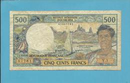 TAHITI - PAPEETE - 500 Francs - ND ( 1985 ) - Pick 25.d - Sign. 5 - French Polynesia - 2 Scans - Papeete (French Polynesia 1914-1985)