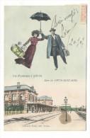 BELGIQUE  /  UNE  PROMENADE  À  VIRTON  /  GARE  DE  VIRTON - SAINT-MARD  ( Couple De Voyageurs Avec Bébés + Parapluie ) - Virton