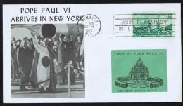 1965  Commemoration Of Pope  Paul VI Arriving In New York - Enveloppes évenementielles