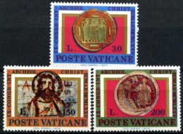 Vatican City 1975 Archaeology Archaeological Congress Religions Archeol Christ Religious Coin Stamps MNH SG#640-642 - Archaeology