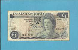 JERSEY - 1 POUND - ND ( 1976 - 83 ) - P 11.a -  Sign. 2 - Queen Elizabeth II - 2 Scans - Jersey