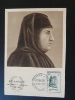 Carte Maximum Card 1956 Petrarque écrivain Medieval Fontaine De Vaucluse Ref 58939 - Schriftsteller