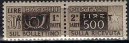TRIESTE AMG FTT - 1949 - PACCHI POSTALI 500 LIRE - SOVRASTAMPA SU UNA RIGA - NUOVO MNH - Paquetes Postales/consigna