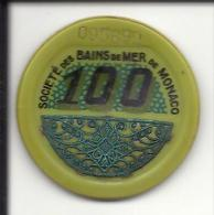 """MONACO -=- MONTE CARLO -=- Jeton CASINO -=-  Société Des Bains De Mer  """" S.B.M. """" -=- 100 Francs - Casino"""