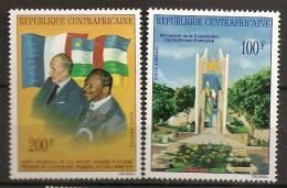 Centrafrique 1976 N° PA 138 / 9 ** Présidents, Bokassa, Giscard D´Estaing, Drapeaux Francais, Monument - Central African Republic