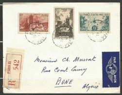 LETTRE RECOMMANDER   ANNEE 1945 POUR BONE ALGERIE AVEC N� 741 / 744 / 742