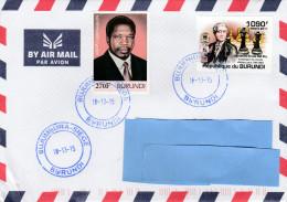 Z3] RARE: enveloppe cover Burundi NON dentel� IMPERF WWF �checs chess Domenico Ercole del Rio President Nataryamira