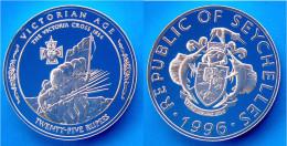 SEYCHELLES 25 R 1996 ARGENTO PROOF SILVER RARE THE VICTORIA CROSS 1854 PESO 31,47g TITOLO 0,925 CONSERVAZIONE FONDO SPEC - Seychelles