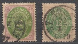 Denmark Danish Antilles (West India) 1876 Mi#12I A And B (yellow Green And Smaragd Green) Yvert#11 Used - Dinamarca (Antillas)