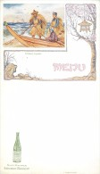 MENU SUR L'ASIE ASIATIQUE AVEC SA PUBLICITEE SOURCE BADOIT SAINT-GALMIER - PÊCHEURS JAPONAIS - DOS BLANC - Menus