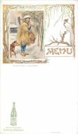 MENU ASIE ASIATIQUE AVEC SA PUBLICITEE SOURCE BADOIT SAINT-GALMIER - PAYSAN JAPONAIS EN COSTUME D'HIVER - DOS BLANC - Menus