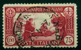 REGNO 1931 S.ANTONIO 75 C. CARMINIO DENT. 12 ANNULLATO RRR  EURO 500,00 - 1900-44 Vittorio Emanuele III