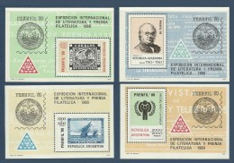 Argentine Argentina 1979 Yv. Blocs 20/23 ** Prenfil 80' Timbres Sur Timbres Bateaux Ships Stamps On Stamps - Hojas Bloque