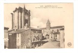 CPA : 43 - SAUGUES : Place De L´Eglise & Tour Des Anglais : Vue Peu Commune - Saugues