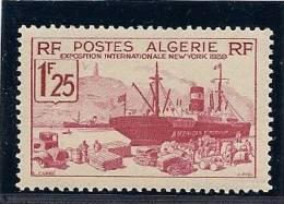 - A.1939 - ALGERIE - Y.T.n°156 - NEUF - 1f 25  - EXPO.  INTERNATION.  NEW YORK - Neufs