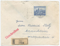 1940 BOEMIA E MORAVIA  K. 10  ISOLATO BUSTA RACCOMANDATA PRAHA 27.12.40 PER MANNHEIM 28.12.40 (A535) - Occupazione 1938 – 45