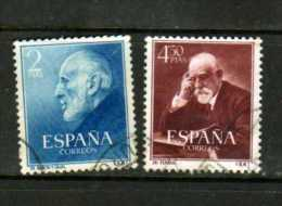 F  64  España 1953 Nº 1119-1120 Usado Con Fijasellos, Dr Ferran ,y Dr Ramon  Y Cajal - 1951-60 Neufs