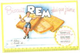 """Buvard Ancien """"Biscuit """" Biscuit Rem - Buvards, Protège-cahiers Illustrés"""