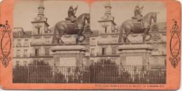 1860´S ESTEREO PLAZA MAYOR & ESTATUA DE FELIPE III MADRID   ESPAGNE SPAIN ESPAÑA - Fotos Estereoscópicas