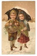 CPA Gaufrée Couple D'enfants Portant Du Gui Sous Un Parapluie - Enfants