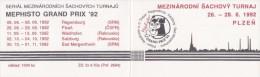 J0890 - Czechoslovakia (1992) Stamps Booklet: International Chess Tournament Mephisto GRAND PRIX '92 - Blocks & Sheetlets