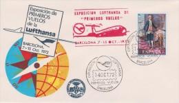 LUFTHANSA. Commemorative Cover And Cancellaton Of First Flights Exhibition, Barcelona, 1972 - Aviones