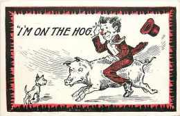 238713-Comic, Man Riding Pig, I'm On The Hog, Dog Barking - Comicfiguren
