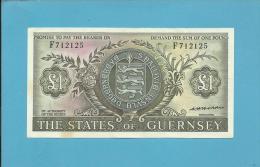 GUERNSEY - 1 POUND - ND ( 1969-75  ) - P 45.b -  Sign. Hodder - Arms / Castle Cornet - 2 Scans - Guernsey
