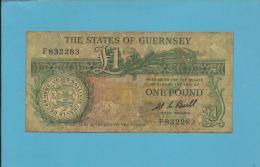 GUERNSEY - 1 POUND - ND ( 1980-89 ) - P 48.a -  Sign. W. C. Bull -  / D. De Lisle Brock - 2 Scans - Guernesey