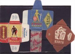 3 Old Razor Blade Wrappers-Rasierklinge Verpackungen-Enveloppeurs Lames De Rasoir-LAMETTA DA BARBA,Matador, Esku,Kebyr - Lames De Rasoir