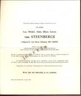 Doodsbrief Oud Burgemeester Dokter Leo Van Steenberge - Sint Lievens Houtem 1881- 1965 - Décès
