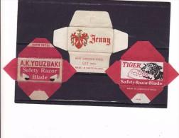 3 Old Razor Blade Wrappers-Rasierklinge Verpackungen-Enveloppeurs Lames De Rasoir-LAMETTA DA BARBA,Youzbaki,Jenny, Tiger - Razor Blades