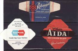 3razor Blade Wrappers-Rasierklinge Verpackungen-Enveloppeurs Lames De Rasoir-LAMETTA DA BARBA,Rotsiegel,EverReady,Aida - Lames De Rasoir