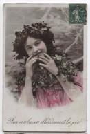 Tinted RPPC ~ Pretty Edwardian Girl In Pink Dress 1909 Kisses Of Joy - Portraits