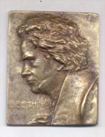 BEETHOVEN PLAQUETA DE BRONCE ANTIGUO CIRCA 1850 ORIGINAL ALEMANIA GERMANY - Professionnels/De Société