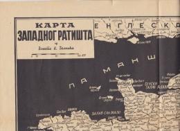 R51. Yugoslavia, 1930, Map Of The Western Battlefields By Vlasta Belkic - Cartes