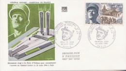 GUERRE 1939-45 ** Libération De Paris Et Maréchal LECLERC **  Yvt N° 1607 - FDC Soie France 1969 - WW2