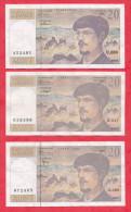 """3 Billets """"Debussy"""" 1993-1995-1997 Dans L 'état - 1962-1997 ''Francs''"""