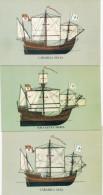 Tres Postales Con Las Carabelas De Colon - España