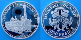 TOGO 1000 F 2005 ARGENTO PROOF SILVER TRAIN NURNBERG FURTH ADLER 1835 PESO 20g TITOLO 0,999 CONSERVAZIONE FONDO SPECCHIO - Togo