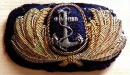 MARINE - Insigne Tissu Ancien De Casquette Cannetille Or & Argent (anglaise ?) - Uniforms