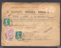 CHARGE Lettre Valeur Déclarée 1330 Frs Paris Affranchissement 14/02/1923 1 Fr Merson 10  C Semeuse X 2  TB - Poststempel (Briefe)