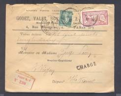 CHARGE Lettre Valeur Déclarée 785 Frs Paris Affranchissement 16/06/1922 1 Fr Merson 10  C Semeuse Vert TB - Poststempel (Briefe)