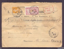 CHARGE Lettre Valeur Déclarée 2480 Frs Paris Affranchissement 04/12/1921 1 Fr Merson 30 C Semeuse Jaune TB - Marcophilie (Lettres)