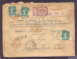 CHARGE Lettre Valeur Déclarée 2340 Frs Paris Affranchissement 02/05/1923 1 Fr Merson 10 C Semeuse Vert X 3 TB - Poststempel (Briefe)