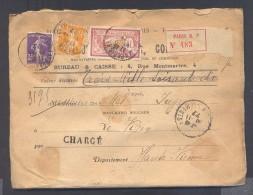 CHARGE Lettre Valeur Déclarée 3070 Frs Paris Affranchissement 30/11/1922 1 Fr Merson 35 C Semeuse Violet Et 5 C Jaune TB - Poststempel (Briefe)