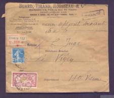 CHARGE Lettre Valeur Déclarée 770 Frs Paris Affranchissement 05/01/1925 1 Fr Merson 25 C Semeuse Bleu TB - Poststempel (Briefe)