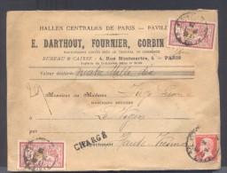 CHARGE Lettre Valeur Déclarée 4010  Frs Paris Affranchissement 26/01/1925 1 Fr Merson X 2 Et 45 C Pasteur TB - Marcophilie (Lettres)