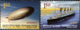Bosnia Serbia 2012 Titanic, Ships, Hindenburg Zeppelin, Set MNH - Bosnie-Herzegovine
