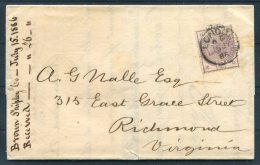 1886 GB QV Brown Shipping Company Cover London - Richmond Virginia Via New York USA - Briefe U. Dokumente